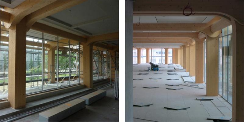 日本著名建筑师 坂茂 设计了瑞士媒体公司 tamedia 的新总部,日本精湛的木工工艺完成了一个四层全木榫铆结构的框架,建筑表面覆盖玻璃,创造了一个拥有光线充足的室内空间、及完美细腻的木工艺的艺术精品。